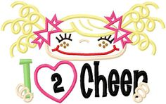 I Luv 2 Cheer Machine Applique Design INSTANT by barbhope2 on Etsy, $4.99