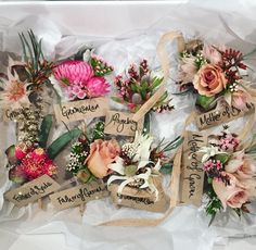 // Boys club ⚡️ Buttonholes don't need to be boring! We love these native vibed pins from a fave wedding last year. An eclectic alternative. Buttonholes, Our Love, Nativity, Gift Wrapping, Weddings, Pretty, Instagram Posts, Flowers, Alternative