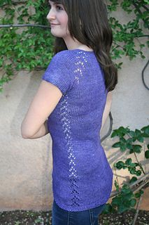 Phryne Pullover is a feminine pullover sweater with special lace raglan increases.