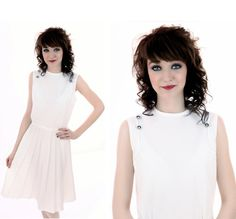 60s MOD Dress Vintage White Pleated Circle by neonthreadsdesigns, $46.00
