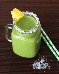 Pina Colada Green Smoothie....I make using almond/coconut milk blend and no coconut flakes using spinach or kale... whatever I have on hand