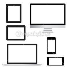 Lucido computer tablet portatile telefono isolamento eps10 vettoriale — Vettoriale Stock