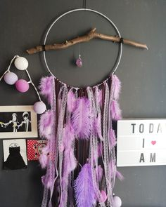 Large Dreamcatcher lilac with wood Large Dream Catcher, Dreamcatchers, Lilac, Etsy Seller, Create, Wood, Unique, Handmade, Painting