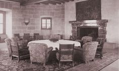 The main reception hall, and the showpiece Italian marble fireplace (donated by Benito Mussolini)
