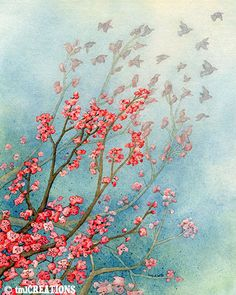 Fly Away No 2  8x10 ORIGINAL watercolor by TracyLizotteStudios, $295.00