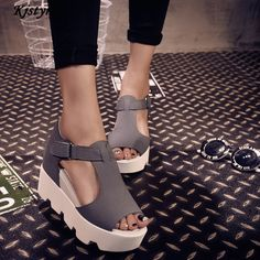 new brand Kjstyrka 2017 summer T-strap Fashion Women Shoes PU Leather  Gladiator Sandals Women Platform Wedges Shoes