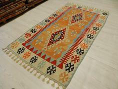 "Free Shipping Pale Color Very Rare Kilim Rug 3'7"" x 6'2"" Decorative Kilim Rug Wool Kilim Rug Bohemian Kilim Rug Turkey Kilim Rug Turkis Rug"