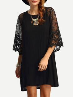 Fabric: Fabric has no stretch Season: Spring Type: Tunic Pattern Type: Plain Sleeve Length: Three Quarter Length Sleeve Color: Black Dresses Length: Short Style: Casual Material: Cotton Blends Necklin