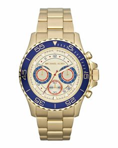 Michael Kors Mid-Size Golden Stainless Steel Chronograph Watch. $250
