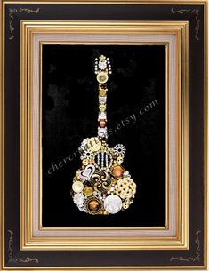 GUITAR New Size 4x6 Button Art Button Artwork Button Ideas