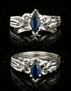 Celtic Engagement Ring - 1/2CT Marquise Sapphire Puzzle Ring