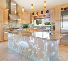 Artsy Under Water Kitchen Island.... http://www.completely-coastal.com/2017/02/coastal-kitchen-design-ideas.html