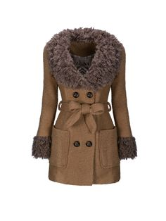 Faux Fur Collar Double Breasted Patch Pocket Plain Coat FashionMia Price: $30.95