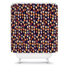 Tammie Bennett Foxflower Shower Curtain #orange #circle #bath #bathroom