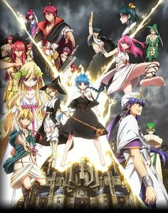 Anime:Magi Genre:Action,Adventure,Comedy,Fantasy Story:Alibaba is a poor,young man who dreams of conquering a Dungeon.Dungeons are tall towers that mysteriously apeared years ago that hold gold,jewels,and a extremely powerful Djinn.If you can conquer the Dungeon then you can keep everything in it.After meeting a Aladdin,a mysterious boy with a Djinn,the two of them decide to conquer a Dungeon together. Age Recommended:15+