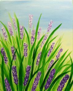Purple field of flowers acrylic painting