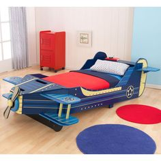 KidKraft Airplane Toddler Bed - 76269 - Junior aviators can fly off to dreamland each night with the KidKraft Airplane Toddler Bed. Moving your child from a crib to a regular bed is sure to ...