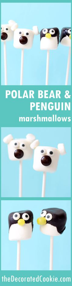 polar bear and penguin marshmallow pops -- fun for a winter party