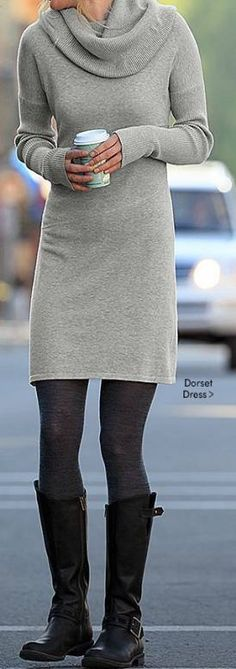 50 Wool Sweater Dresses To Try This Fall And Winter - Chemise Vintage 2019 Legging Outfits, Grey Leggings Outfit, Sweater Dress Outfit, How To Wear Leggings, Long Shirt Dress, Dresses With Leggings, Tight Dresses, Sweater Dress With Leggings, Cowl Neck Sweater Dress