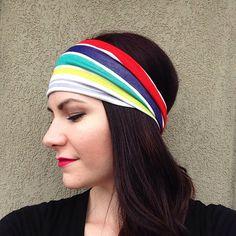 Colored Stripes Head Wrap Headband OR Turban on Etsy, $10.99