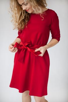 Red midi dress for women red long sleeve dress quarter by ADORIQUE