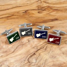 Cufflink designed for the rock god in you. Available in four colours; cherry red, royal blue, forest green and duck egg grey. Personalise this with up to 3 initials