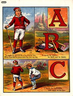 Child's alphabet app adapted from 1885 Baseball ABCs book. Neat.