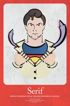 Superman, Serif. Superhéroes tipográficos por Matthew Olin