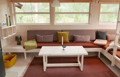 Run To The Hills, Diy Couch, Cabin Design, Going Home, Outdoor Furniture, Outdoor Decor, White Walls, Scandinavian Design, Architecture Design