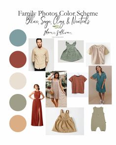 Family Photo Outfits Color Schemes - Blue, Sage, Clay, Fall Family Picture Outfits, Family Photo Colors, Family Outfits, Neutral Family Photos, Fall Family Pictures, Extended Family Photography, Extended Family Photos, Studio Poses, Engagement Photo Outfits