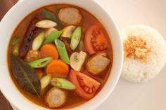 Beef meatballs in Tom Yum soup