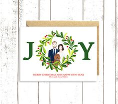 Custom Christmas Card  Family Portrait Holiday Card  Custom