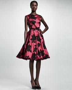 Lanvin Rose Cloque Inside-Pleat Dress, Fuchsia. Bergdorf Goodman.