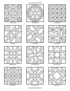 Vintage Notions Coloring Book: Quilt Therapy: Amy Barickman: 9780692701744 Barn Quilt Designs, Barn Quilt Patterns, Patchwork Quilt Patterns, Tile Patterns, Pattern Art, Quilting Designs, Doodle Patterns, Zentangle Patterns, Geometric Designs
