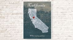 Wall art map of California Art print  decor by MyHomeDeco on Etsy, $44.00