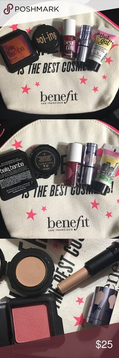 Benifit bundle/w bag Get all 5 deluxe samples/w bag they were swatched. But never used on face. Get a great deal. With the bag. These samples will last you a while. Benifit Makeup
