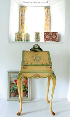 Vintage Home Shop - The Prettiest Antique Lady's Writing Bureau with Hand Painted Flowers: www.vintage-home.co.uk