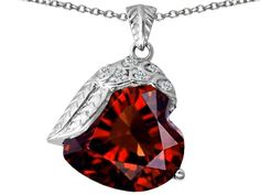 Star K Angel Wing of Love Pendant Necklace with Heart Shape Simulated Garnet