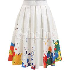 SheIn(sheinside) jupe plissée imprimée -multicolore ($20) ❤ liked on Polyvore featuring polychromie, pleated skirt, white a line skirt, white pleated skirt, colorful skirts and multi color skirt