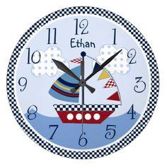 "Personalized ""Sail Away/Nautical/Boats Baby Clock"