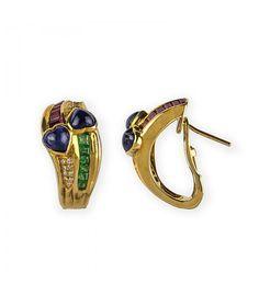 Pendientes de oro 18kt con diamantes, rubíes, esmeraldas y zafiros, ahora en subasta hasta el 19 de septiembre - Subastas Regent's   Joyas y Antigüedades
