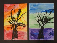Splats, Scraps and Glue Blobs: Ink-Blown Trees on Warm and Cool Backgrounds