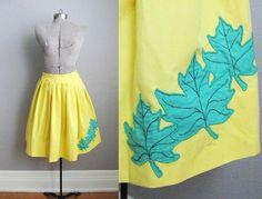 1950s Vintage Skirt Yellow Cotton 50s Skirt, $45.00