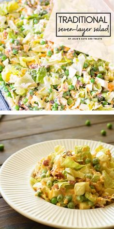 Traditional Seven Layer Salad is a holiday staple! In this holiday winter salad are layers Pea Salad Recipes, Celery Recipes, Winter Salad Recipes, Salad Recipes Video, Healthy Salad Recipes, Lunch Recipes, Recipe Videos, Healthy Food, Eating Clean
