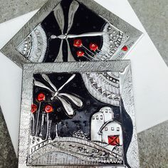 TRY CUTTING OUT HOUSES ETC AND LAY FOIL OVER       Pewter sheet, permanent markers and newsprint under cut out areas by Elitia Hart Metal Art - www.pewterart.ca