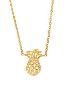 Looking for a little vacay?  Wear this delicate golden pineapple pendant and you'll feel like you're on the tropical shores of Hawaii in no time!