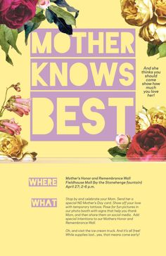 Poster Design for Student Drive | 2016 Mother's Day Event | #print #notredame #advertising #marketing