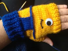 """Despicable Me"" Minion Fingerless Gloves -  Free Knitting Pattern"