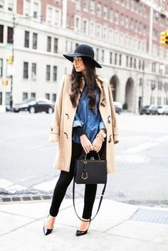 Warm And Fashionable Winter Combinations With Denim Shirts