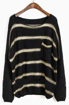 Black Batwing Long Sleeve Striped Hollow Sweater